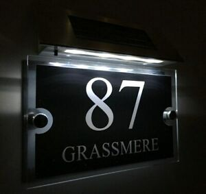 MODERN SOLAR LIGHT House Signs Plaques Door Numbers LED 1 - 9999 street Name