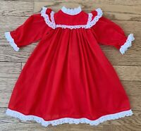 Vintage Handmade Baby Doll Dress Red With White Lace Long Sleeve