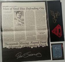 Death of Superman Promo Lot of 4 signed Dan Jurgens POSTER NEWSPAPER CARD RIBBON