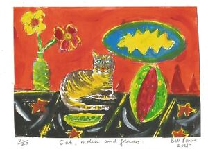 """2021 linocut """"melon cat and flowers """" by Bill Payne.Mary Fedden style"""