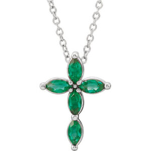 """Genuine Marquise Emerald Cross 16-18"""" Necklace In Platinum"""