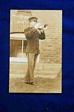 Pre-Wwi Rppc, 153rd C.A.C. Field Bugler in Dress Uniform