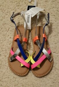 NWT Gap Girls Neon Color Strap Strappy Sandals Flat Shoes (Reg $29.95) Sz 8 C
