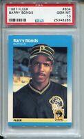 1987 '87 Fleer Baseball #604 Barry Bonds Rookie Card RC Graded PSA Gem Mint 10