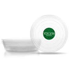 YIKUSH Clear Plant Saucers 10 Inch 6 Pack Flower Pot Tray Excellent for Indoor &