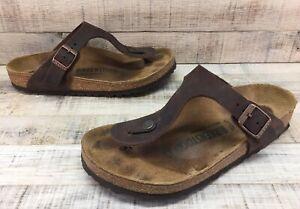Birkenstock Gizeh Brown Leather T-Strap Thong Sandals Women's sz 6 / 37