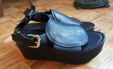 & Other Stories black leather platform chunky heel sling back sandals shoes 39 9