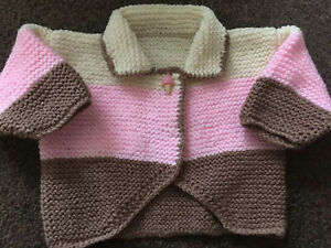 hand knitted baby girls cardigan 0-3 months in Chocolate, Pink and Cream