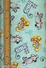 Fancy Felines Jim Shore 21427Q Quilt Quilting Fabric blue aqua cats angels