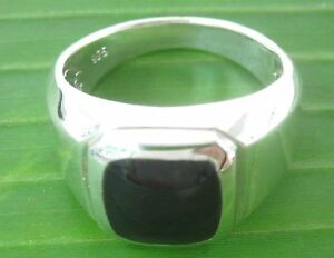 """REAL 925 sterling silver BLACK ONYX square """"SOLID"""" Ring BIG size BOY MEN WOMEN"""