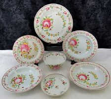 (7) Pcs. Antique Staffordshire Gaudy Dutch Queen's Rose Pearlware Plates, Bowls