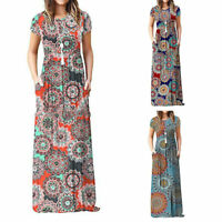 Womens Boho Floral Print Long Sundress Summer Short Sleeve Maxi Dresses Holiday