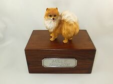 Beautiful Paulownia Small Wooden Personalized Urn with Red Pomeranian Figurine