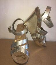 SAM EDELMAN Nelson Women's Metallic Leather Ankle Strap Wedge Sandals Size 9M