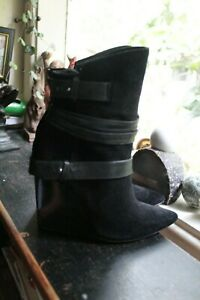 ALICE & OLIVIA by STACEY BENDET Black Ankle Boots/11.5 cm Wedge Size 38.5/ 7.5