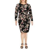 Rachel Roy Women's Stella Floral Faux Wrap Dress Black Floral Size 1X
