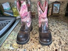 Ariat Childs Girls Boots Size 9.5 Brown Leather With Pink Camo Boot Shaft