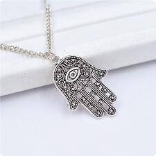 Trendy Good Luck Protection Hamsa Symbol Fatima Hand Evil Eye Pendant Necklace