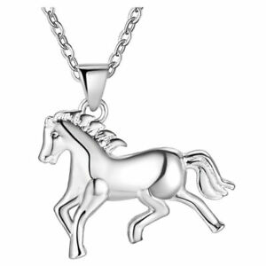 925 Sterling Silver Running Horse Pendant Necklace for Success Women Man