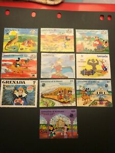 Grenada St Vincent Disney collection Lot F36 India '89, Sydpex '88 etc