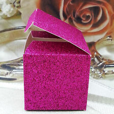 "50 Hot Pink Fuchsia Glitter Favor Boxes Wedding Party Gift Supplies 2"" 2X2X2 Box"