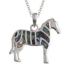 Intarsiati Paua Shell Ciondolo Zebra sulla collana catena d'argento-due toni