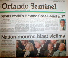 1995 newspaper Sportscaster HOWARD COSELL DEAD MondayNight Football MUHAMMAD ALI