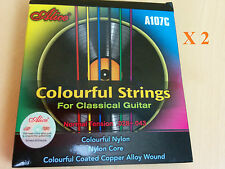 2 X Alice Normal Tension Multi-color Nylon Strings for Classical Guitar - A107C