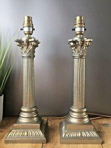 LARGE PAIR OF VINTAGE CORINTHIAN COLUMN HALL TABLE LAMPS ANTIQUE GOLD FINISH M&S