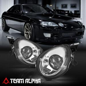 Fits 1992-2000 Lexus SC300/SC400[Chrome/Clear]Projector High Beam Headlight Lamp
