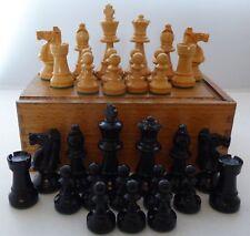 C1950's Wooden Chess Set Weighted Original Box Ebony & Box Wood King 7 cm