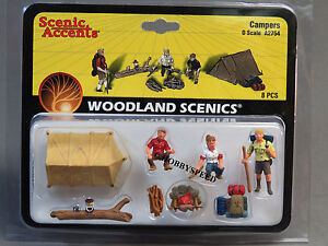 WOODLAND SCENICS CAMPERS O GAUGE FIGURES train tent fire sleeping bags WDS2754