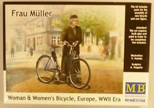 MasterBox 1/35 German Woman on Womens Bicycle WWII Era Figure Model Kit 35166