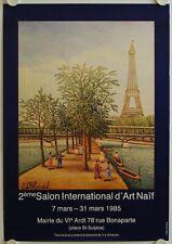 Affiche E. BLONDEL 1985 Exposition SALON INTERNATIONAL d'ART NAIF - Paris