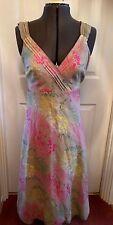 Monsoon Floral Print Ramie & Cotton Sleeveless Midi Dress 8