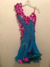 Ballroom Latin Dance Competition Dress Made with Swarovski Rhinestones Orchids