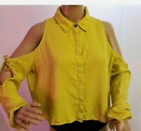 ZARA TRAFALUC COLLECTION CUTE YELLOW COLD SHOULDER WOMEN'S SIZE L BLOUSE NWT!