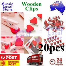 Wooden Clip Red Heart Pegs Cute Mini Party Wood Lolly Bag Set Gift Craft 20 pcs