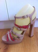 Ladies NOVO Patent Beige Pink Gold Heels AUS Size 7 EU 38 Block High Strappy