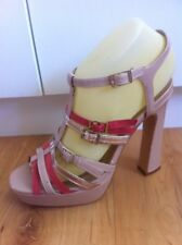 Ladies NOVO Patent Beige Pink Gold Heels AUS Size 7 EU 38 Block High Strappy