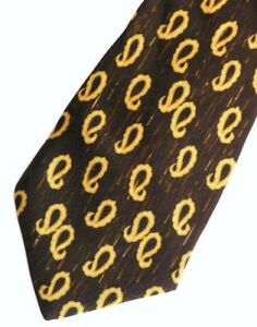 "Brown Gold Paisley HUGO BOSS Silk Tie 4.1"" wide 57"" long"
