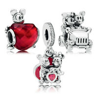 925 Sterling Silver Disne Mickey Minnie Love Heart Charms Bead Dangle Bracelet