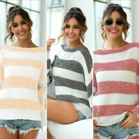 Loose Sweater Long Sleeve Knit Shirt Knitwear Jumper Womens Knitted Pullover
