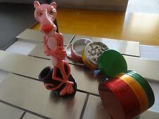 Pink Panther Ceramic Tobacco Pipe + 4pcs. Metal Grinder < NOT glass  3342  + RG