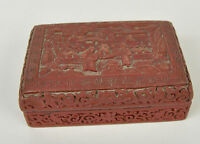 Vintage Cinnabar Lacquered Carved Box Village People Scene Red Brown