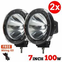 """Pair 7"""" inch 100W HID Driving Lights XENON Spotlights Offroad 4x4 Work 12V UK"""