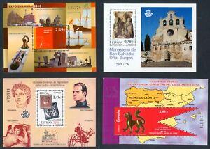 ESPAÑA - AÑO 2010 -  4 HOJAS BLOQUE - EDIFIL 4560**- 4563**- 4607**- 4611**- MNH