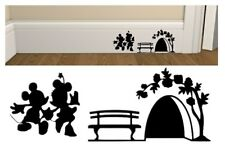 MICKY AND MINNIE MOUSE HOLE SKIRTING BOARD  CUT VINYL WALL ART STICKER /  DECAL