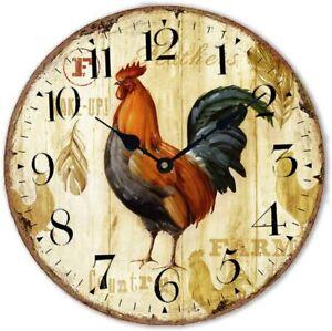 "Wood Clock 12"" Chicken Rooster Quartz Movement Silent Non-Ticking Wooden Wall"