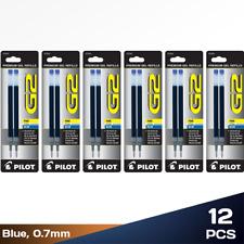 Pack of 12 Pilot G2 0.7mm Dr Grip Rollerball Refills Fine Point Blue Gel Ink Pen